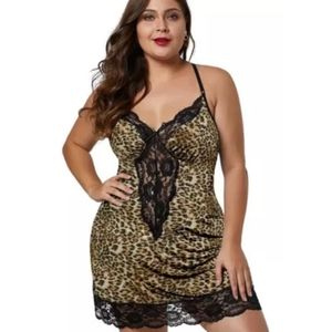 Other - Sexy Plus Size Lingerie Animal Print Chemise Slip